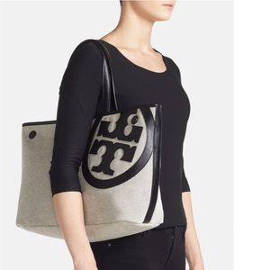 "Tory Burch ""Lonnie"" Canvas and Leather Tote Bag"